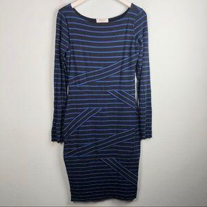 Bailey 44 black & blue stripe bodycon midi dress